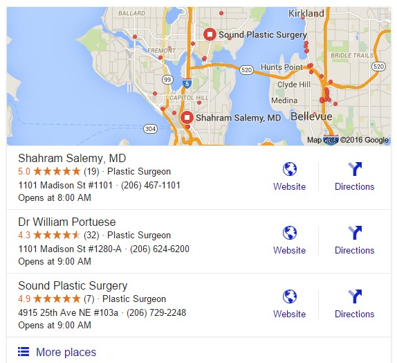 seo plastic surgeon google local search