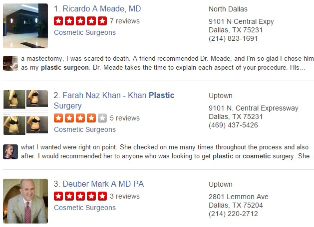 plastic surgeon seo reviews on Yelp